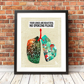 No Smoking Sign, 11x14, lung cancer, cancer awareness, cancer gift, office sign, mixed media art, giclee illustration, typography print