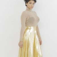 PIPPA FAUX LEATHER PLEATED SKIRT - GOLD