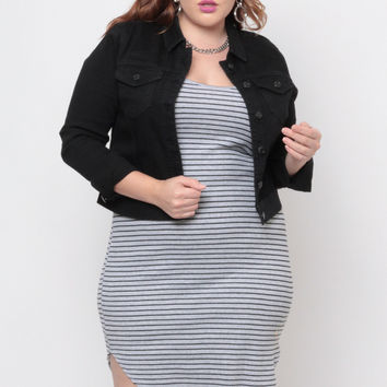 Plus Size Stretch Denim Jacket - Black
