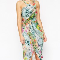 ASOS Halter Drape Front Asymmetric Wrap Dress In Smudgy Floral at asos.com