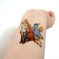 Floral fox temporary tattoo - Ink, Flower, Blue, Vintage, Fox, Tattoo, Vintage Floral, Accessories