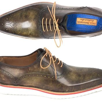 Paul Parkman (FREE Shipping) Smart Casual Oxford Shoes For Men Army Green (ID#184SNK-GRN)