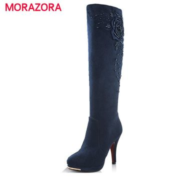MORAZORA 2017 new fashion high heels suede leather knee high boots women autumn winter snow motorcycle boots for women shoes