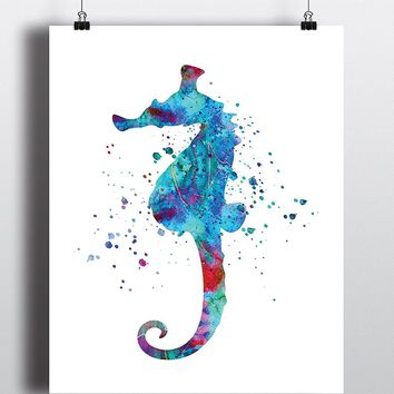 Sea Horse Watercolor Art Print - Unframed