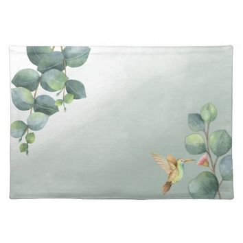 Eucalyptus Hummingbird Watercolor Placemats