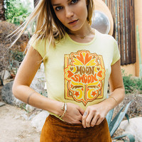 Moon Swoon tshirt- womens clothing- vintage inspired- 70s baby rib style- moon lover- banana yellow-