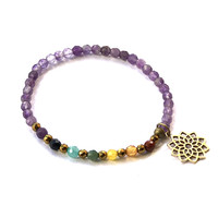 Crown Chakra Delicate Bracelet, with Chakra Gemstones and Amethyst