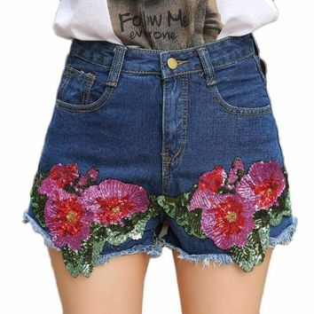 Sequined Shorts For Women Mid Waist Denim Shorts Short Jeans Flower Sequins Shorts Blue