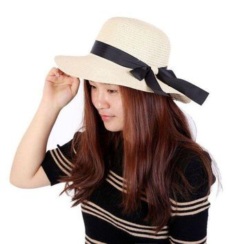 PEAP78W 2017 New arrival Style Summer Women Folding Beach UV Cap Wide Brim Bowknot Floppy Straw Sun Hat Caps