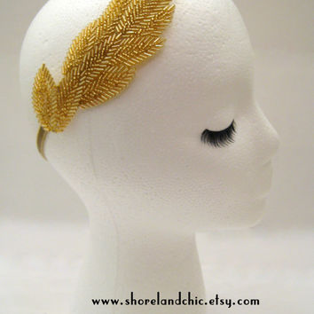 The Helen - gold goddess headband, gold leaf headband, gold bridal head piece, gold leaves hair, gold wedding hair, Greek goddess style