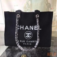 HCXX 19Aug 688 Fashion Canvas Embroidered Chain Tote Casual Large Shopper 37-30-18cm