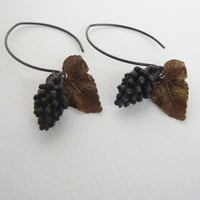 Leaves and Pine Cones - Long Dangle Earrings - Forest Floor - Woodland Jewelry - Nature Inspired