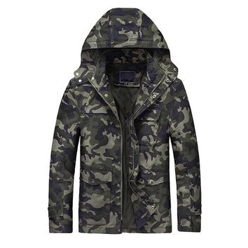 Military Camouflage Hooded Cargo Jacket