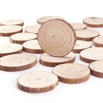 10/24 Pieces 6-7cm Unfinished Predrilled Wood Slices Round Log Discs With 33 Feet
