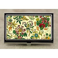 Victorian Flowers Business Card Case in Vintage Style