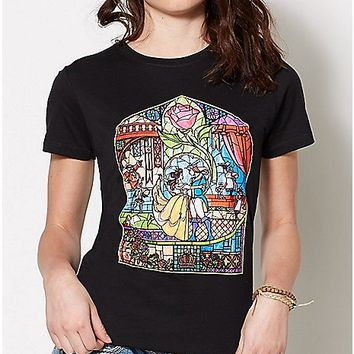 Stained Glass Beauty and The Beast T Shirt - Disney - Spencer's