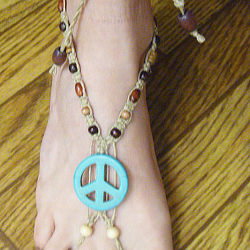 Turquoise Peace Sign and Wood Hemp Barefoot Sandals   handmade macrame  hippie   beach  bottomless sandal foot thong