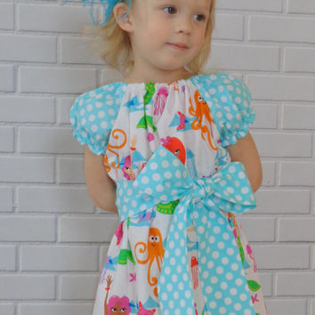Mermaid Peasant Dress Handmade Boutique Clothing By Lucky Lizzy's