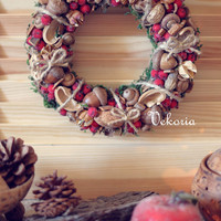 Christmas, rustic, handmade home decor, Christmas wreath