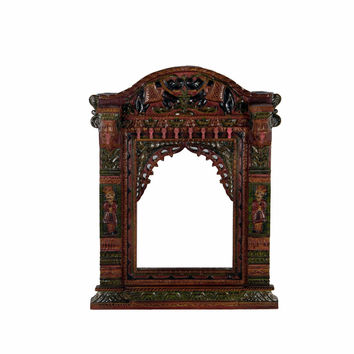 Multicolor Hand Painted Maharaja Jharokha Mirror Frame - Wall Décor