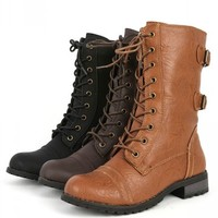 Wild Diva Timberly-02 Whisky Lace Up Boots | MakeMeChic.com