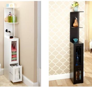 Space Saving Slim Metal Scrolled Wooden Storage Cabinet Black or White Cupboard