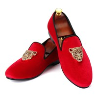 Harpelunde Dress Shoes Red Men Velvet Loafers With Animal Buckle Size 6-14