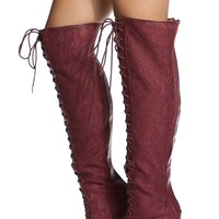 Burgundy Lace Thigh High Lace Up Peep Toe Boots @ Cicihot Boots Catalog:women's winter boots,leather thigh high boots,black platform knee high boots,over the knee boots,Go Go boots,cowgirl boots,gladiator boots,womens dress boots,skirt boots.