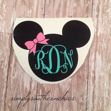 Mickey or Minnie Mouse Monogram Decal - Perfect for Car or Laptop or Anything Else!!!