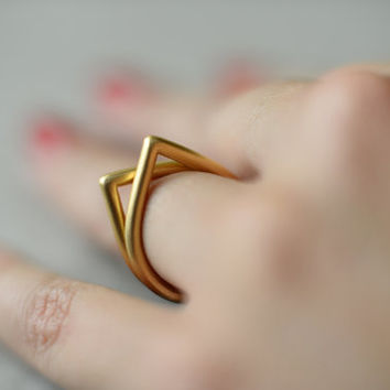 Drop gold ring, thick, stacking ring, high quality gold plated, wedding ring, engagement ring, present for woman, designer ring, baladi