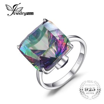 10ct Square Natural Fire Rainbow Mystic Topaz Ring Solid 925 Sterling Silver Jewelry Brand New Hot Gift For Women High Quality