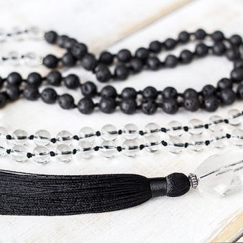 Crystal and lava mala beads, Hand knotted mala necklace with crystal quartz, volcanic rock, 108 meditation beads, Black lava mala beads
