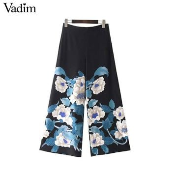 Women vintage floral wide leg pants side zipper ladies casual loose trousers Pantaloon