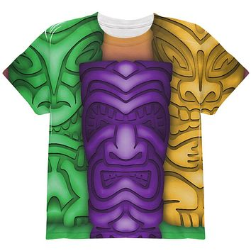 Mardi Gras Tiki Glass Party All Over Youth T Shirt