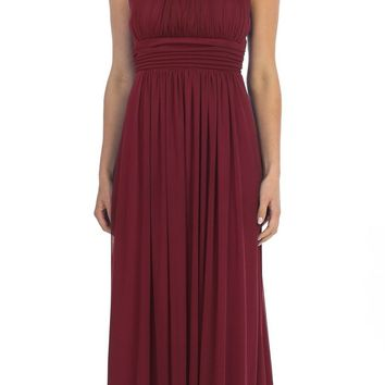 Celavie 6283 Grecian Beaded Neckline Long Formal Dress Burgundy