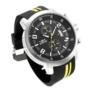 INVICTA S1 Rally Mens 51mm Chronongraph - Black & Yellow - Date - Rubber Strap