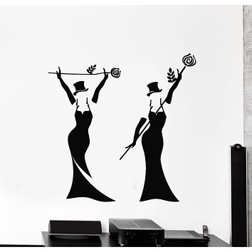 Vinyl Wall Decal Girls Women In Black Dress And Hat Magician Flowers Stickers Mural (g1111)