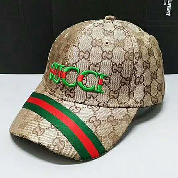 GUCCI Fashion New Stripe Embroidery Letter Sunscreen Women Men Hat Cap Khaki