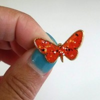 Vintage Small Orange Enamel Gold Filled Butterfly Pin Signed V within an O