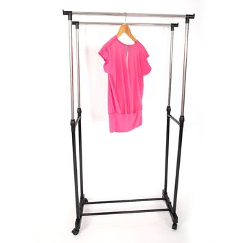 Adjustable Rolling Clothes Rack Double Bar Hanging Garment Hanger Space Saving