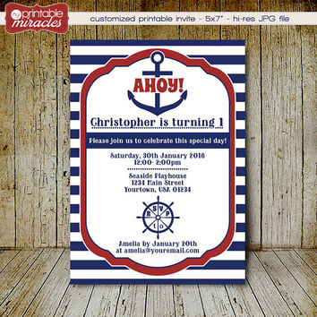 Printable Nautical Invitation with anchor and wheel - Digital nauical birthday party invite for kids