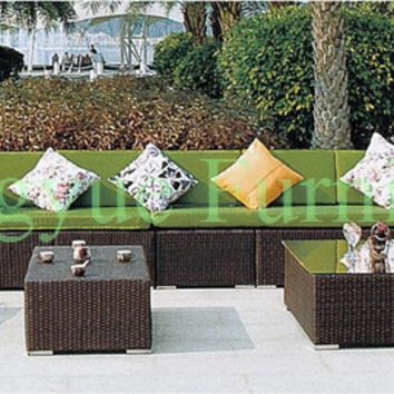 Outdoor rattan sectional corner sofa set furniture with cushions