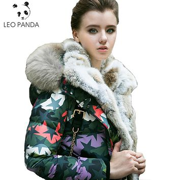 Winter Women Hooded Raccoon Fur Collar White Duck Down Long Jacket Fashion Thick Camouflage Coat Rabbit Fur Lining Parka LCY17
