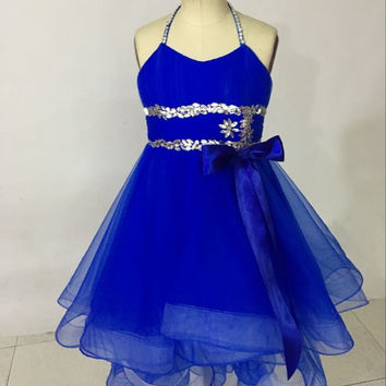 Crystal Beading High Low Little Flower Girl Dress for weddings Baby Party frocks children Dress kids prom dresses evening Gowns