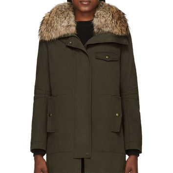 Army By Yves Salomon Green Rabbit And Raccoon Fur Military Parka