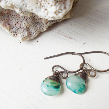 Peruvian opal briolette dangle earrings, wire wrapped stone drops, october birthstone, translucent teal, oxidized brass artisan jewelry