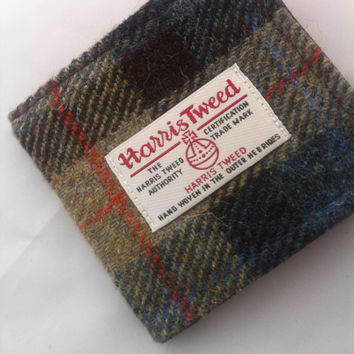 Mans Harris tweed wallet bill fold made in Scotland gift  wool vegetarian plaid Scottish British UK