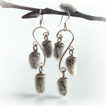 Chandelier earrings with real willow catkins, woodland wedding, bridal earrings, woodland jewelry, nature jewelry