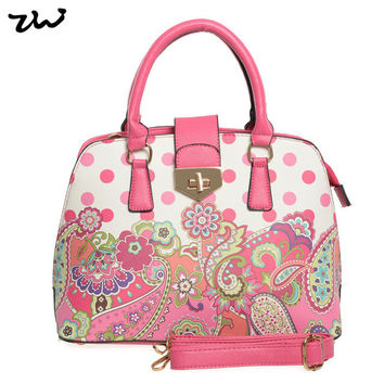 Quality Dots Bag Ladies Flower Fashion Pu Leather Handbag For Women-Pink