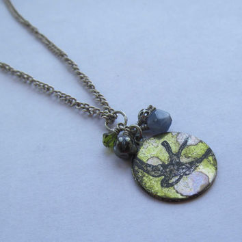 Bird Pendant Necklace Blue and Green with by FantasyBeadDesigns